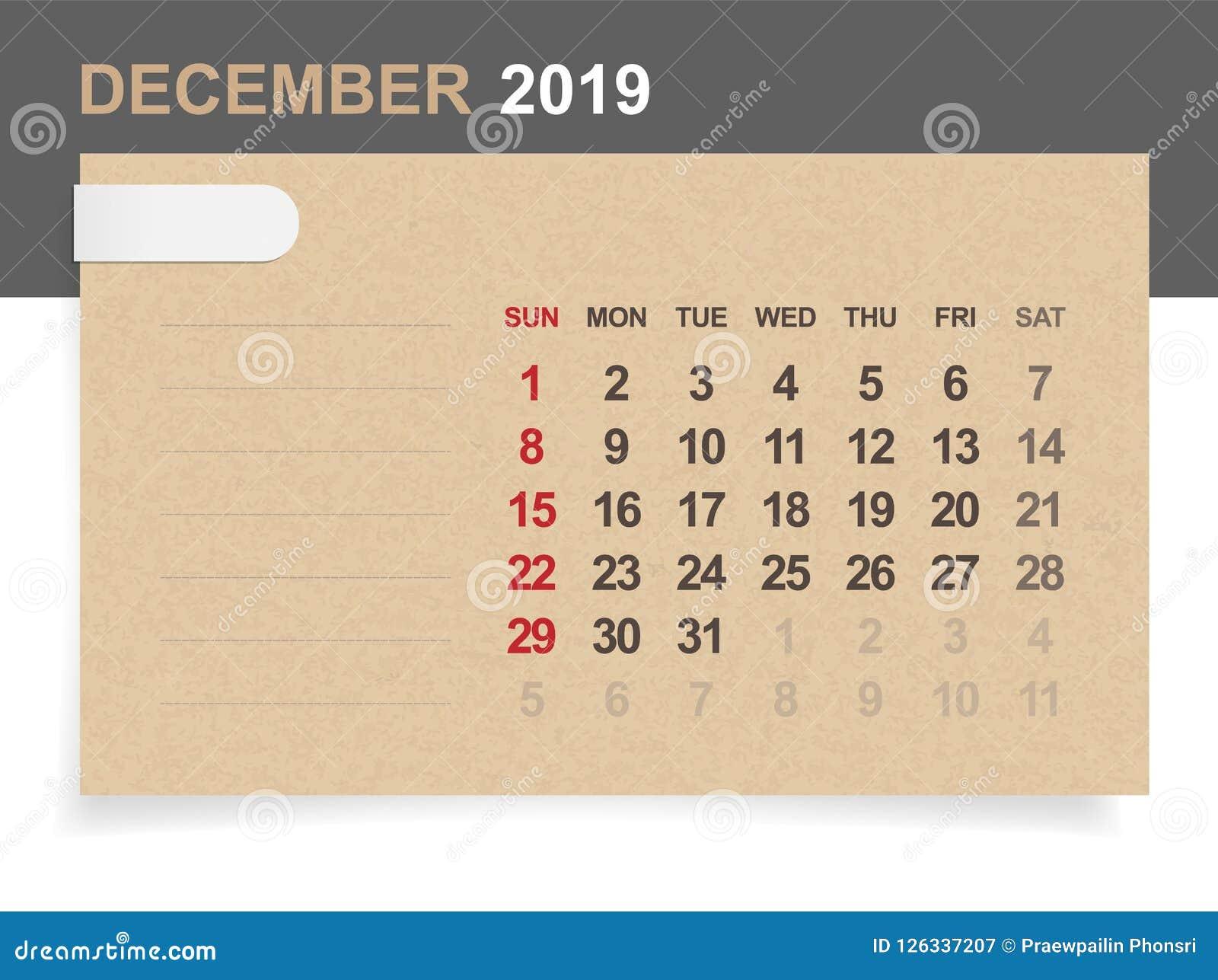 Calendrier Mensuel Decembre 2019.Decembre 2019 Calendrier Mensuel Sur Le Fond De Papier