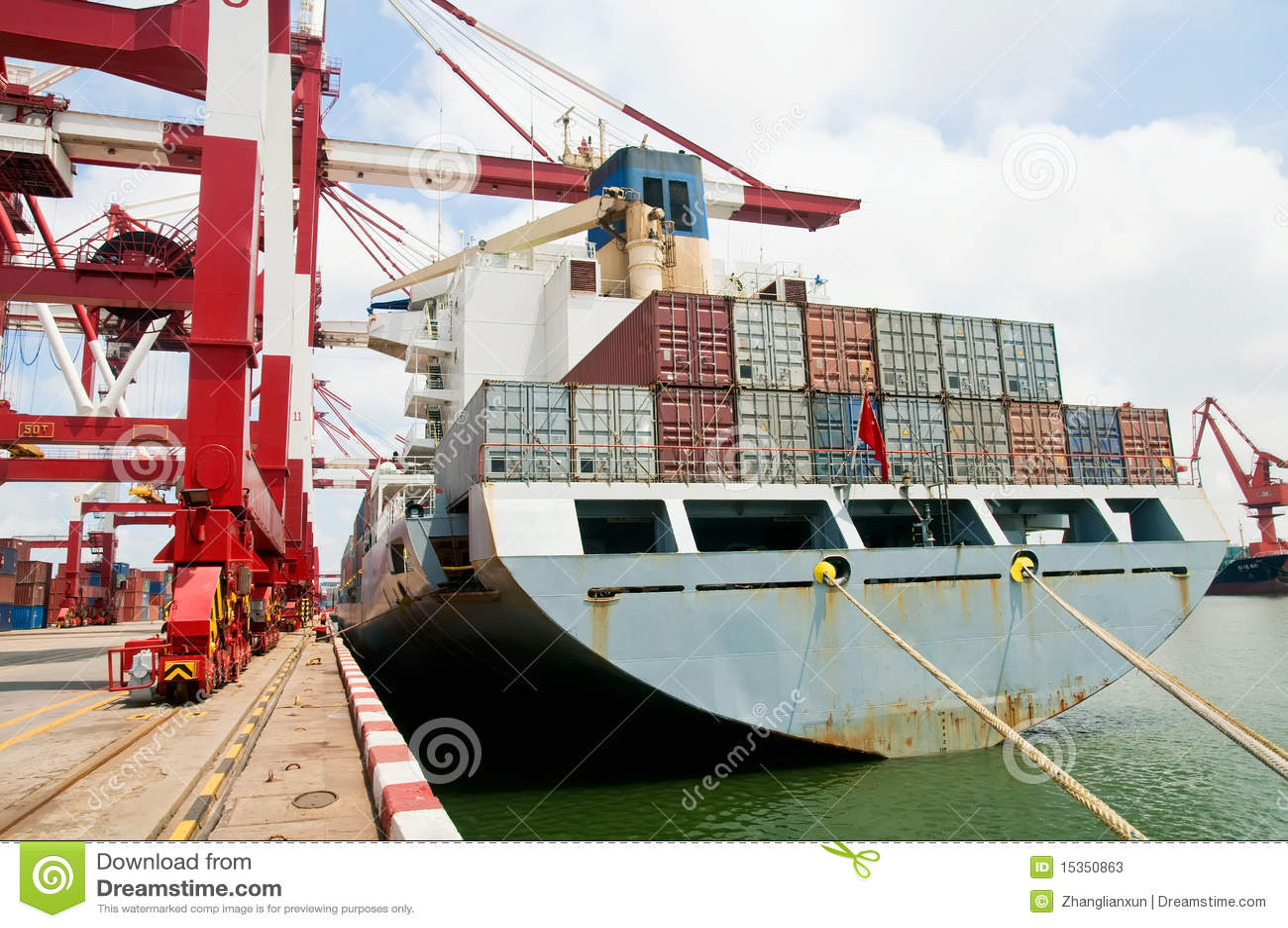 Déchargement De Cargo De Conteneur Image stock - Image du ...