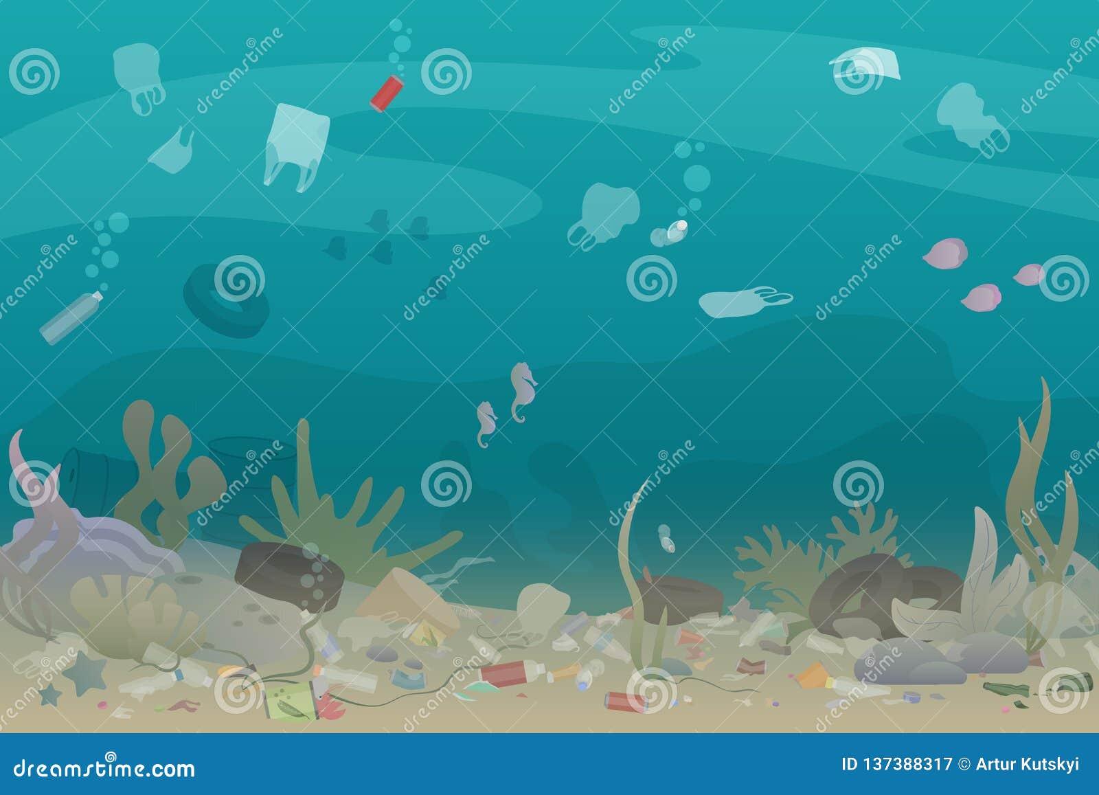 Déchets en plastique de pollution sous la mer avec différents genres de déchets - bouteilles en plastique, sacs, déchets Eco, l e
