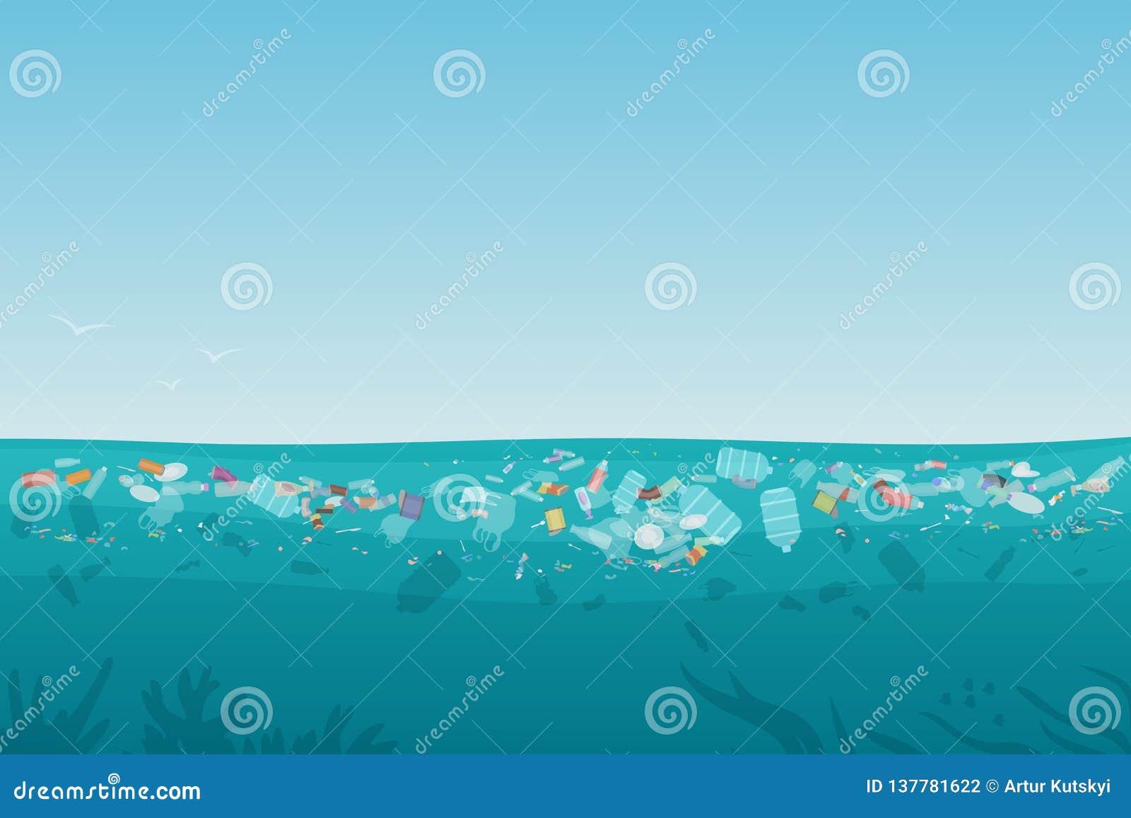 Déchets en plastique de pollution sur la surface de mer avec différents genres de déchets - bouteilles en plastique, sacs, déchet