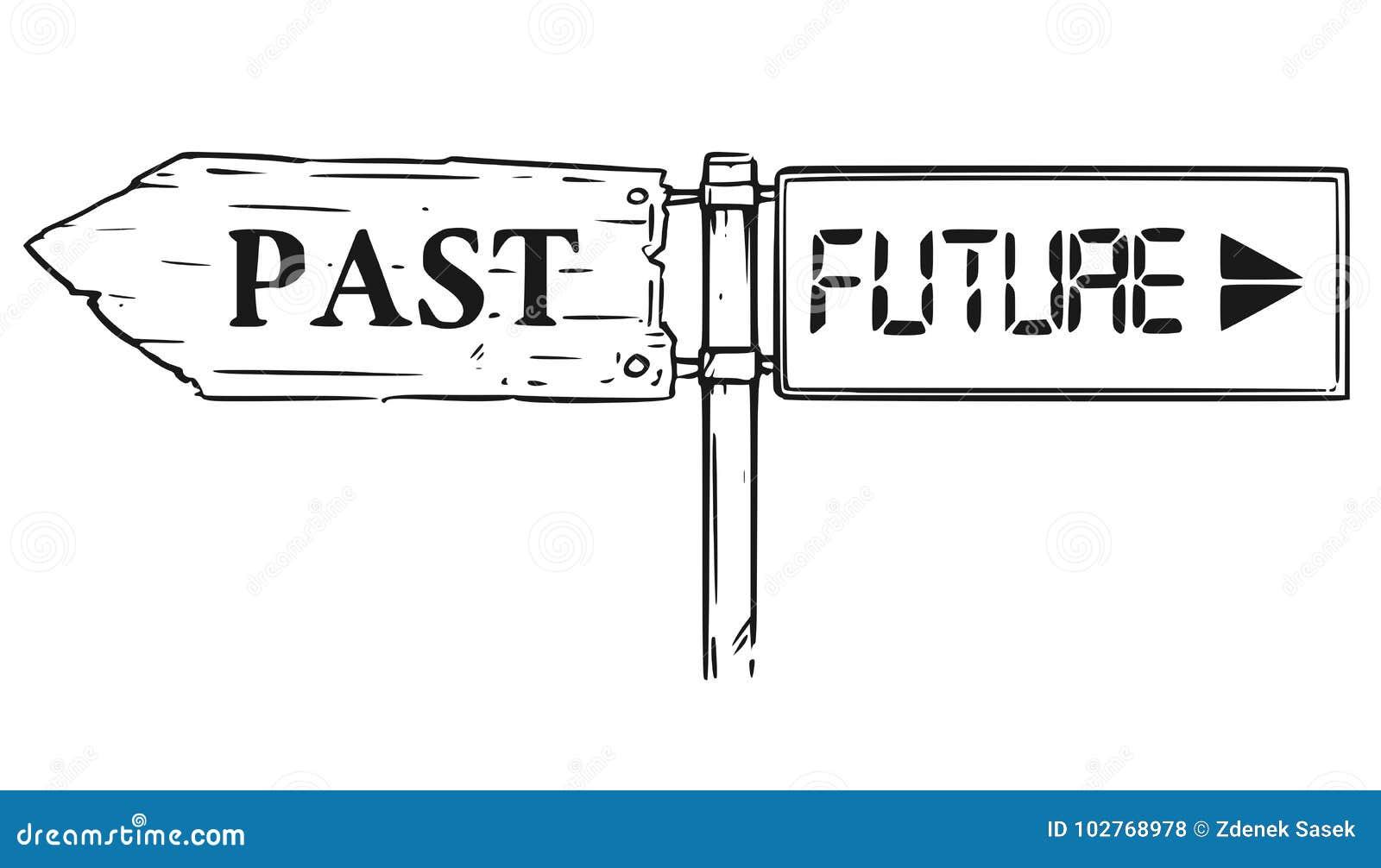 D cision de route pass e ou futur dessin de signe de - Dessin de route ...