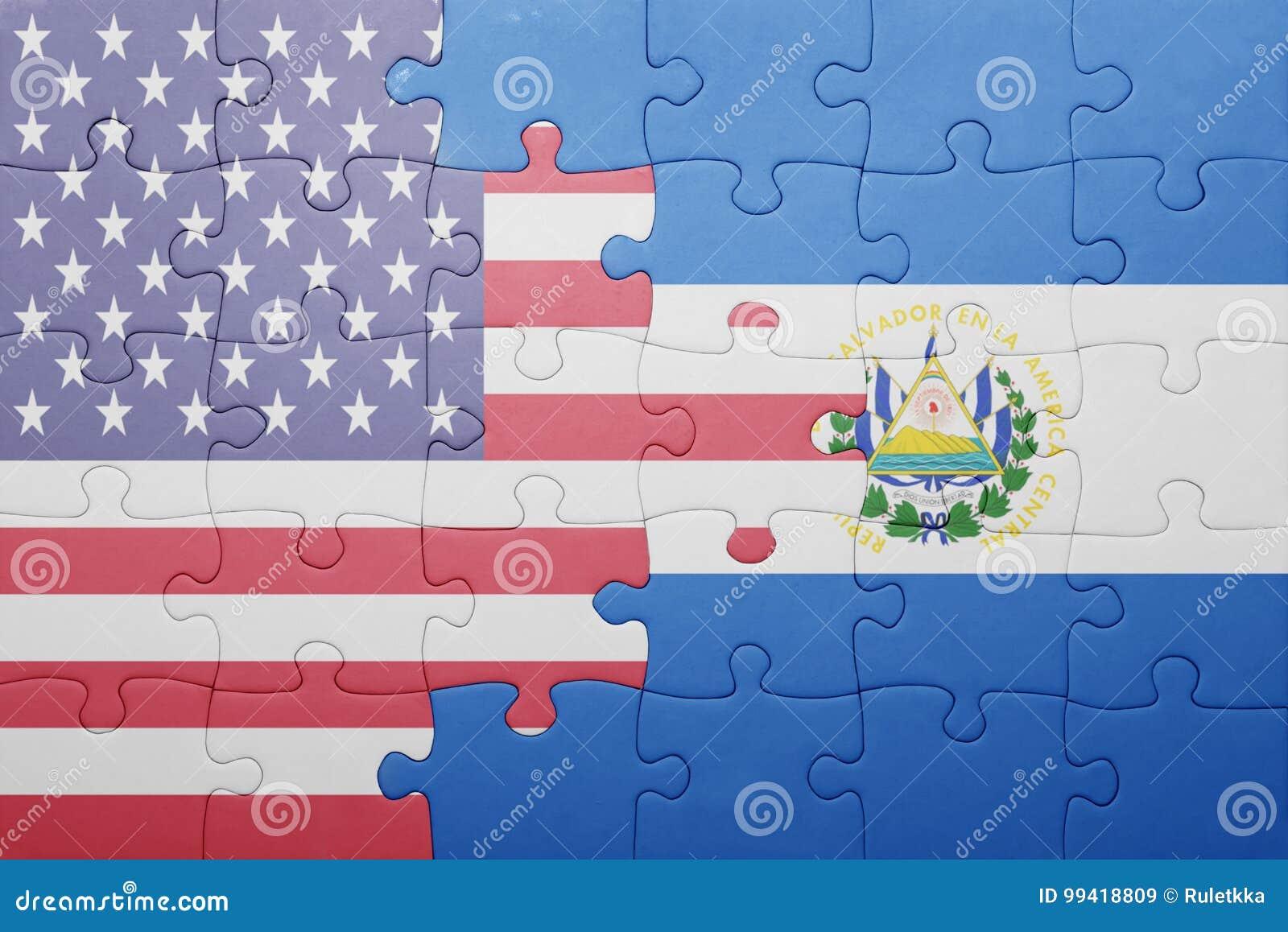 Déconcertez avec le drapeau national des Etats-Unis d Amérique et du Salvador