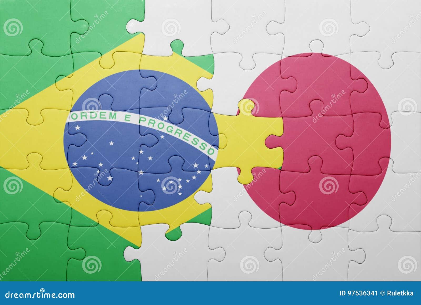 Déconcertez avec le drapeau national du Brésil et du Japon