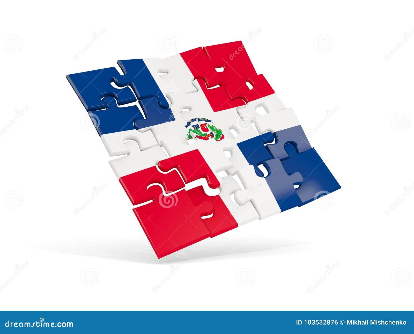 Déconcertez le drapeau de la République Dominicaine d isolement sur le blanc