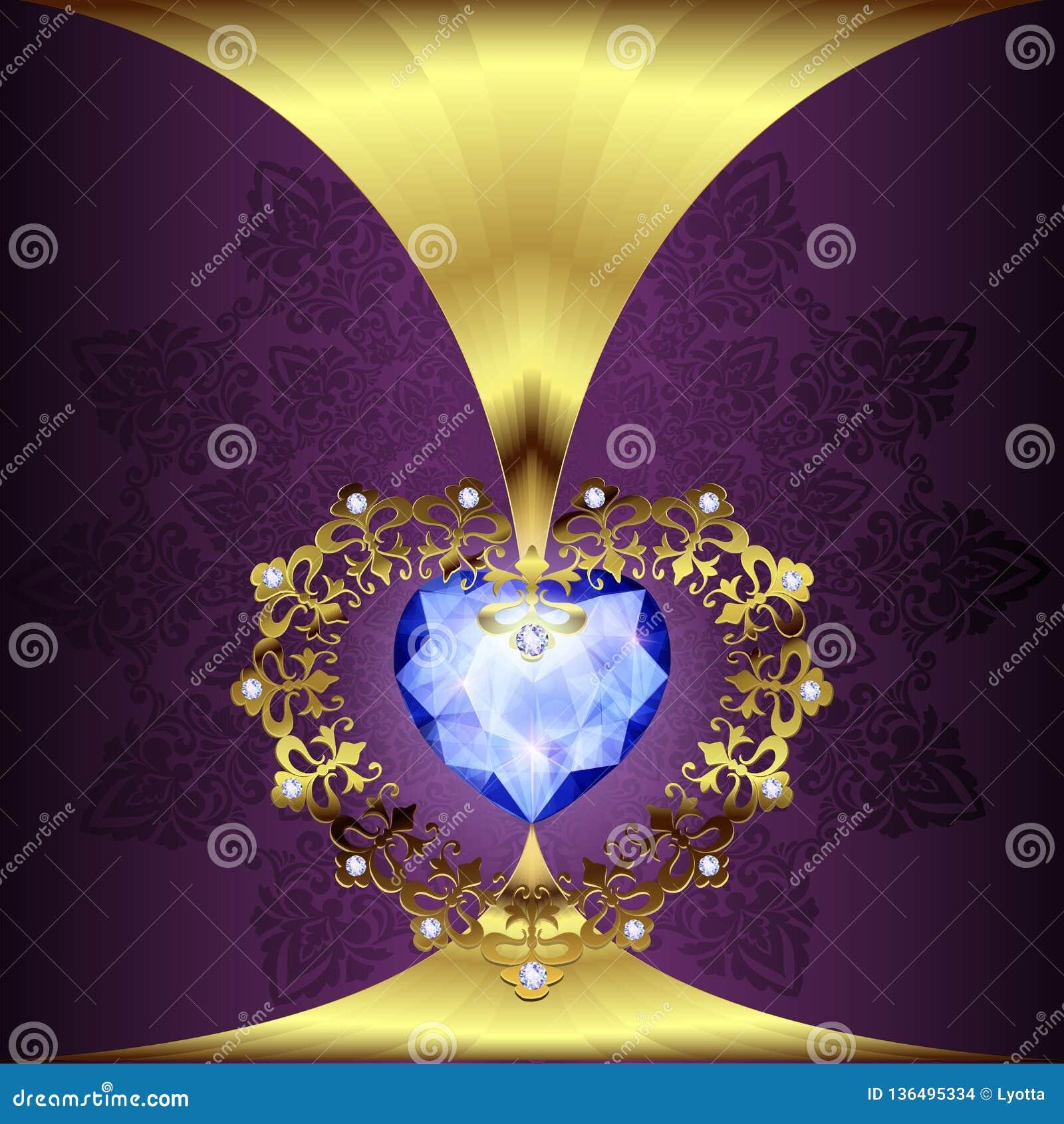 Décor à jour de coeurs d or avec un ornement sur un fond floral d art déco