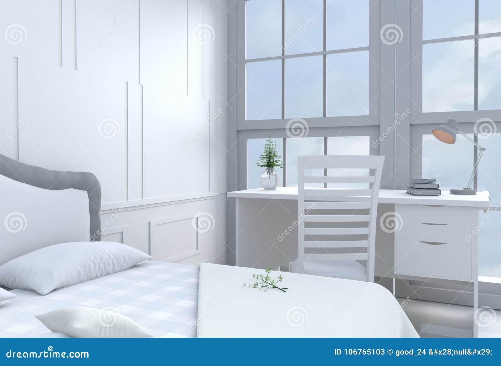 Décor blanc de pièce de lit avec le bureau et le grand lit dans le