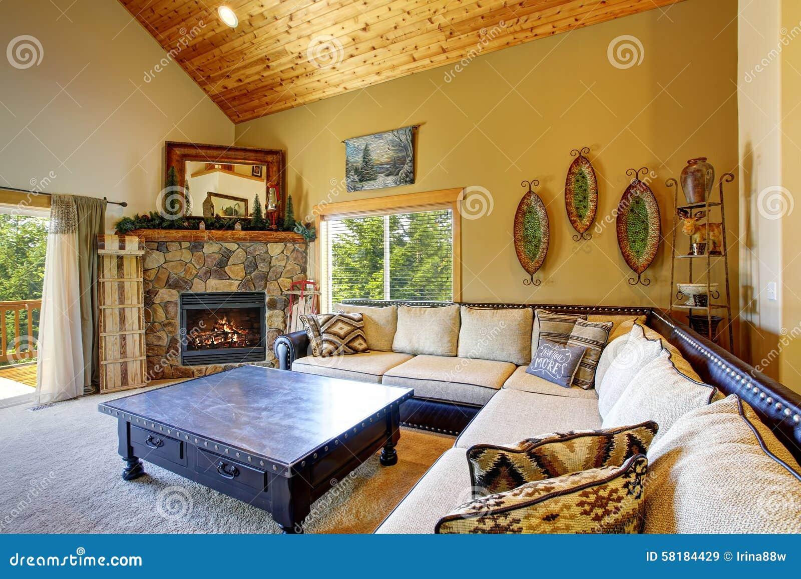 Décor De Style De Montagne Dans Le Salon Moderne De Jour Image stock ...