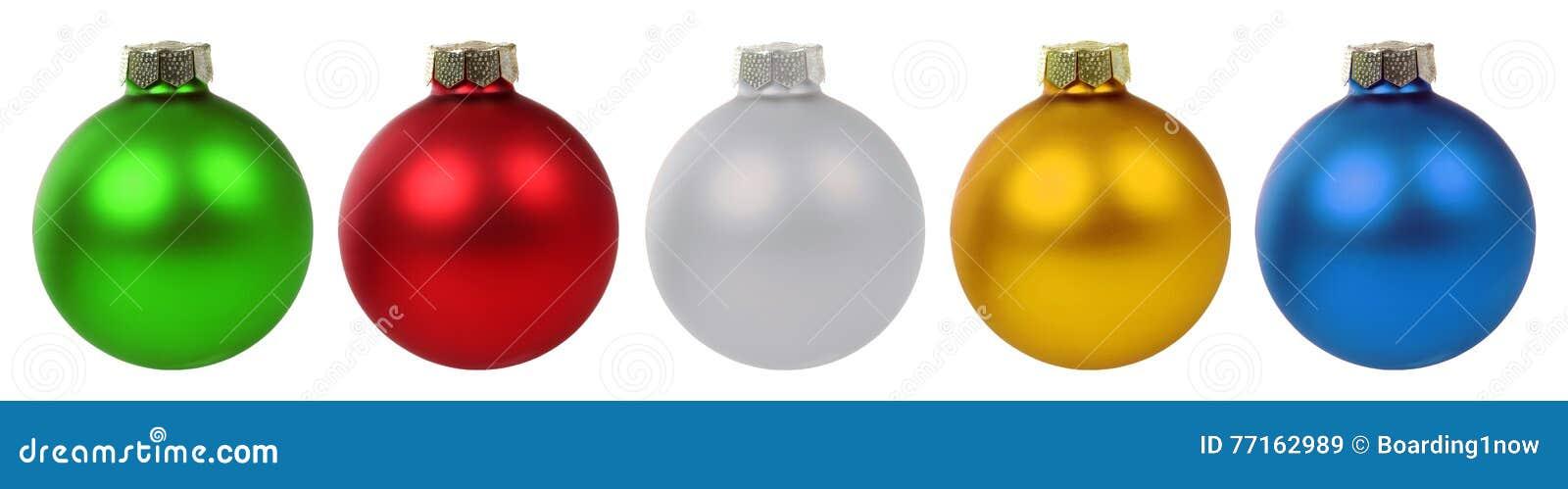 Décoration colorée de babioles de boules de Noël d isolement