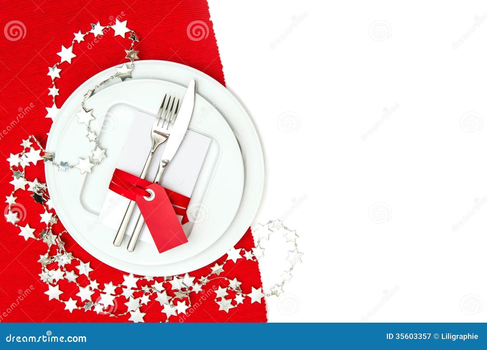 Décoration De Couvert De Table De Noël En Rouge Et Argent