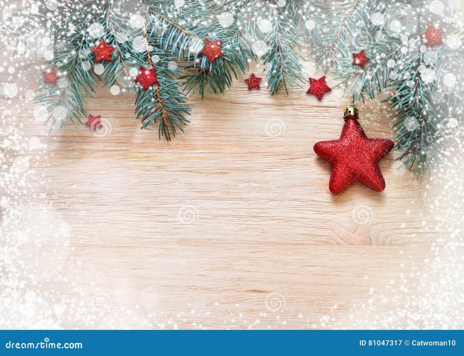 Décoration De Noël Étoile Rouge Sur Le Fond En Bois Image