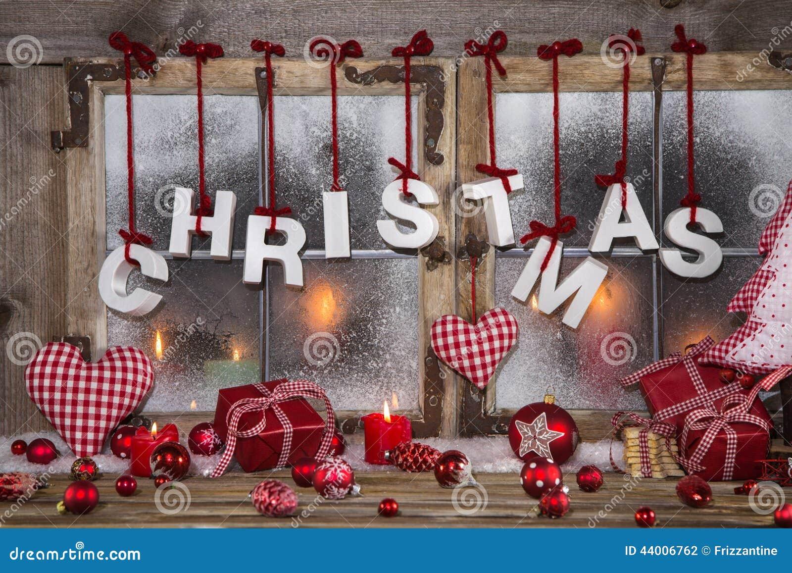 Décoration De Noël De Style Campagnard En Rouge, Blanc Et
