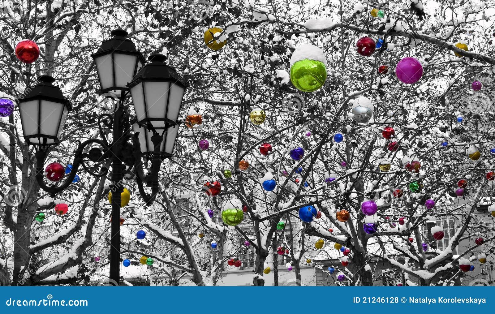 Decoration De Noel Sous La Neige Photo Stock Image Du Decoration Neige 21246128