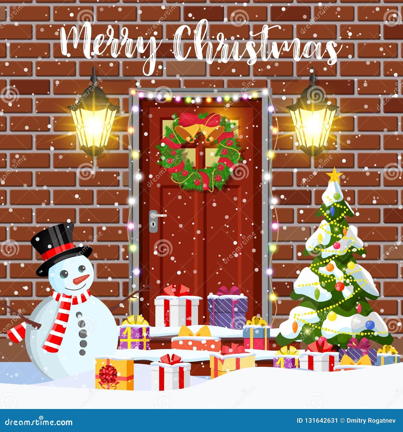 Décoration De Porte De Chambre Pour Les Vacances De Noël Front Door House  Exterior Entrance Vacances De Joyeux Noël Nouvelle Année Et Célébration De  Noël ...