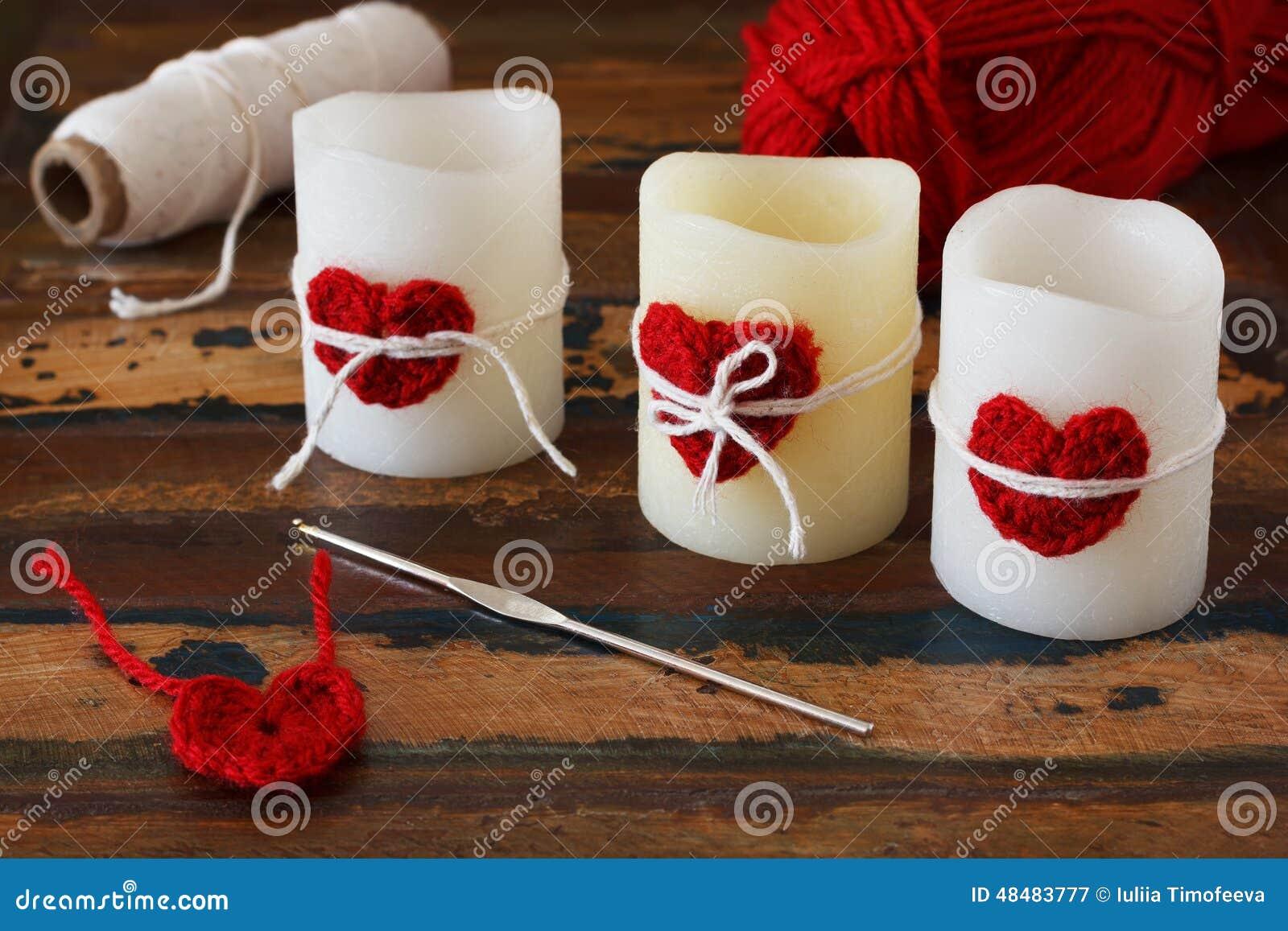 D coration de saint valentin de saint coeur rouge de crochet fait main pour - Decoration fait main ...