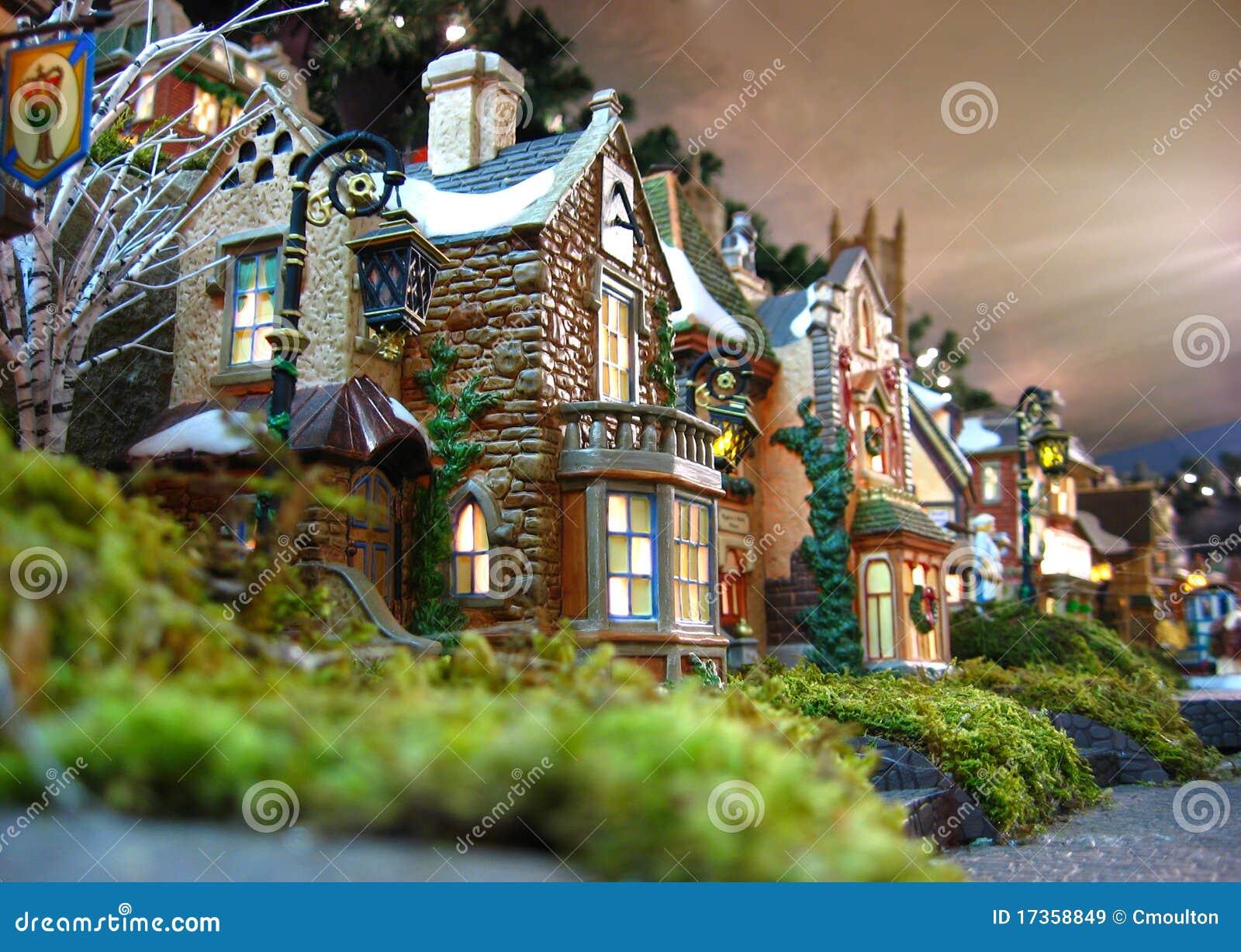 d coration de village de no l image stock image du figurine c l brez 17358849. Black Bedroom Furniture Sets. Home Design Ideas