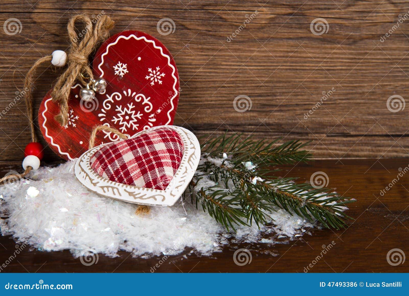 D coration en bois de coeur de no l photo stock image - Decoration coeur en bois ...