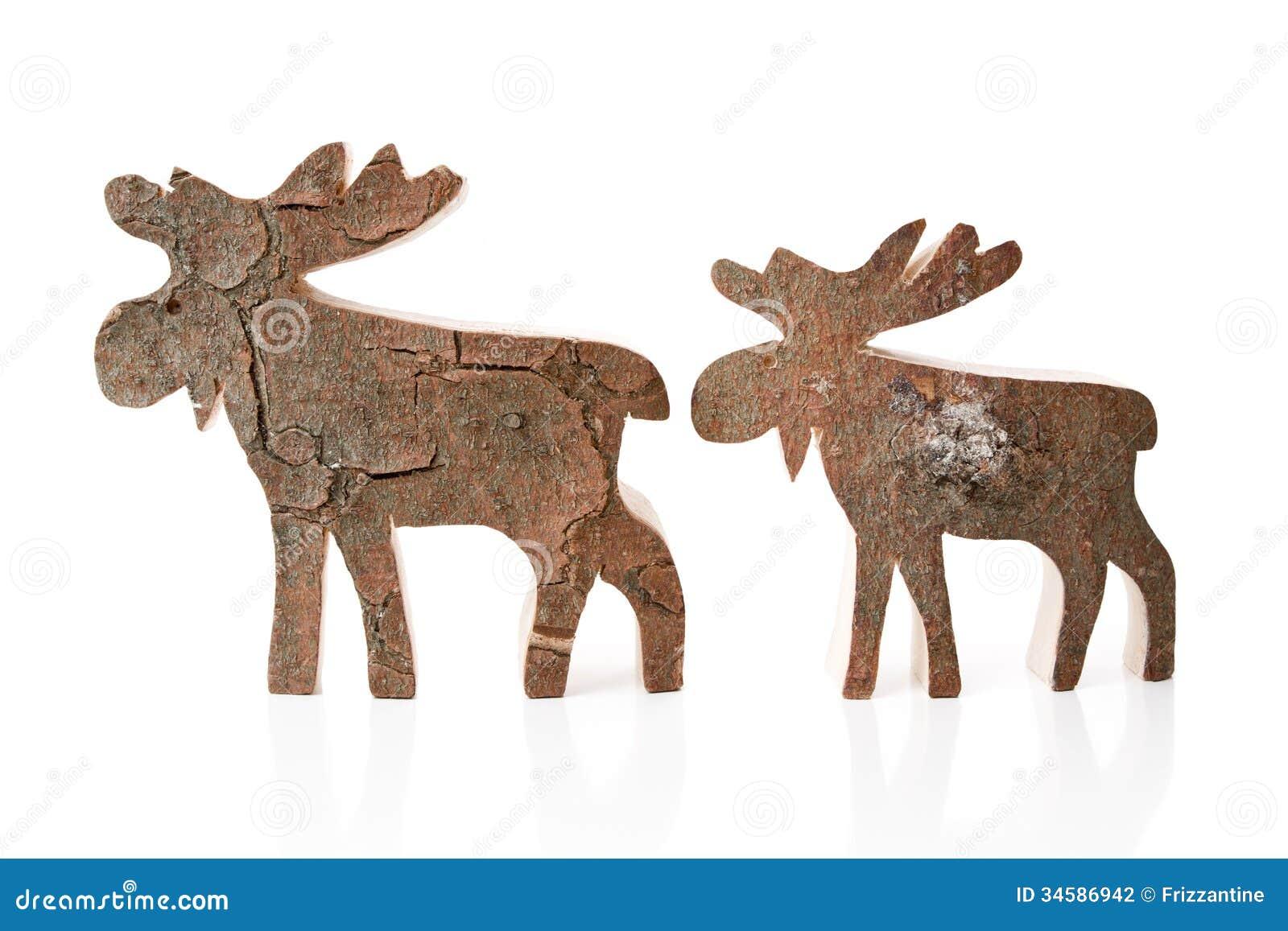D coration en bois de no l renne ou lans d 39 isolement faits main photo stock image 34586942 - Renne de noel en bois ...