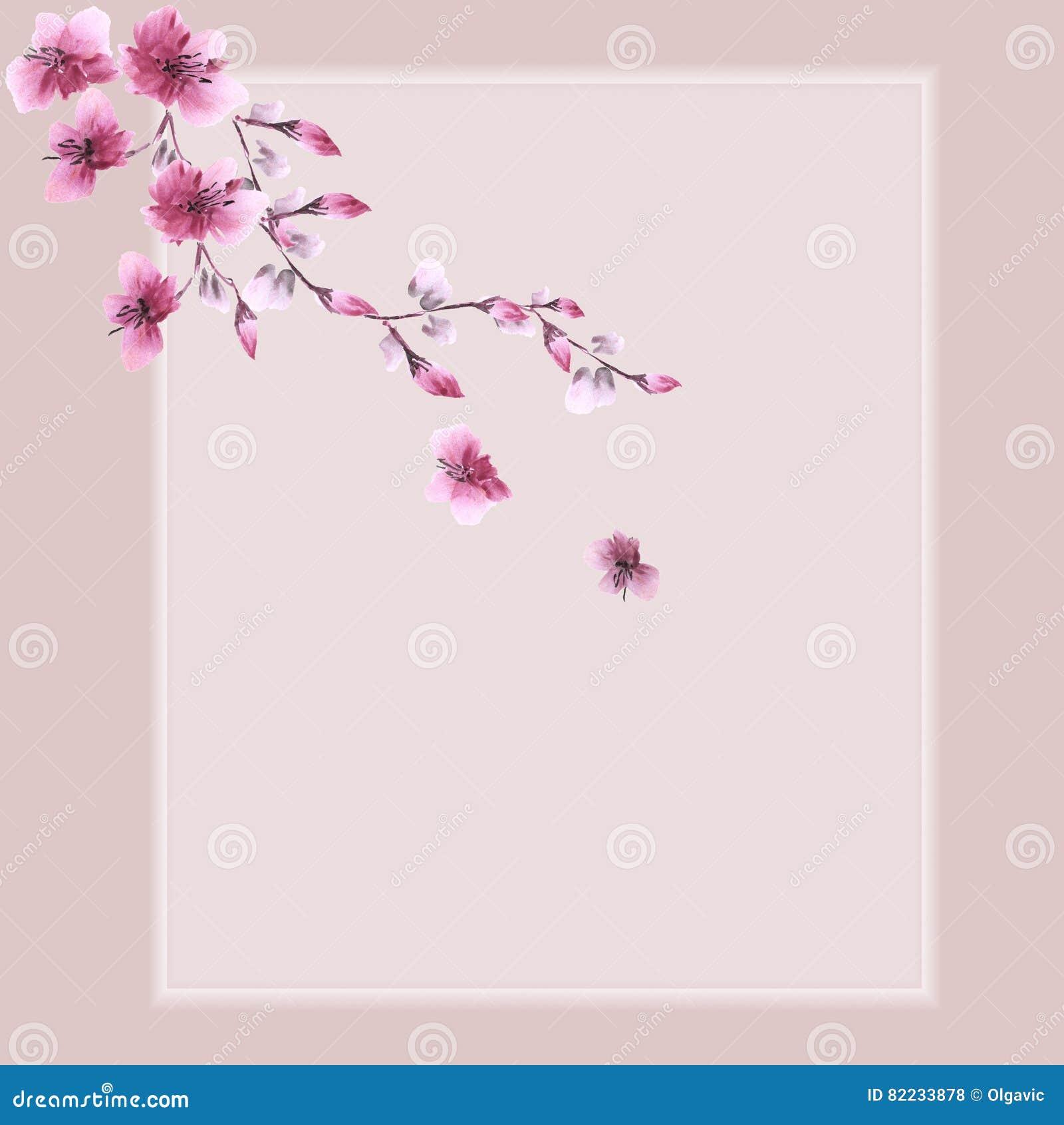 d coration florale carte d 39 anniversaire branche se d veloppante avec les fleurs roses sur un. Black Bedroom Furniture Sets. Home Design Ideas