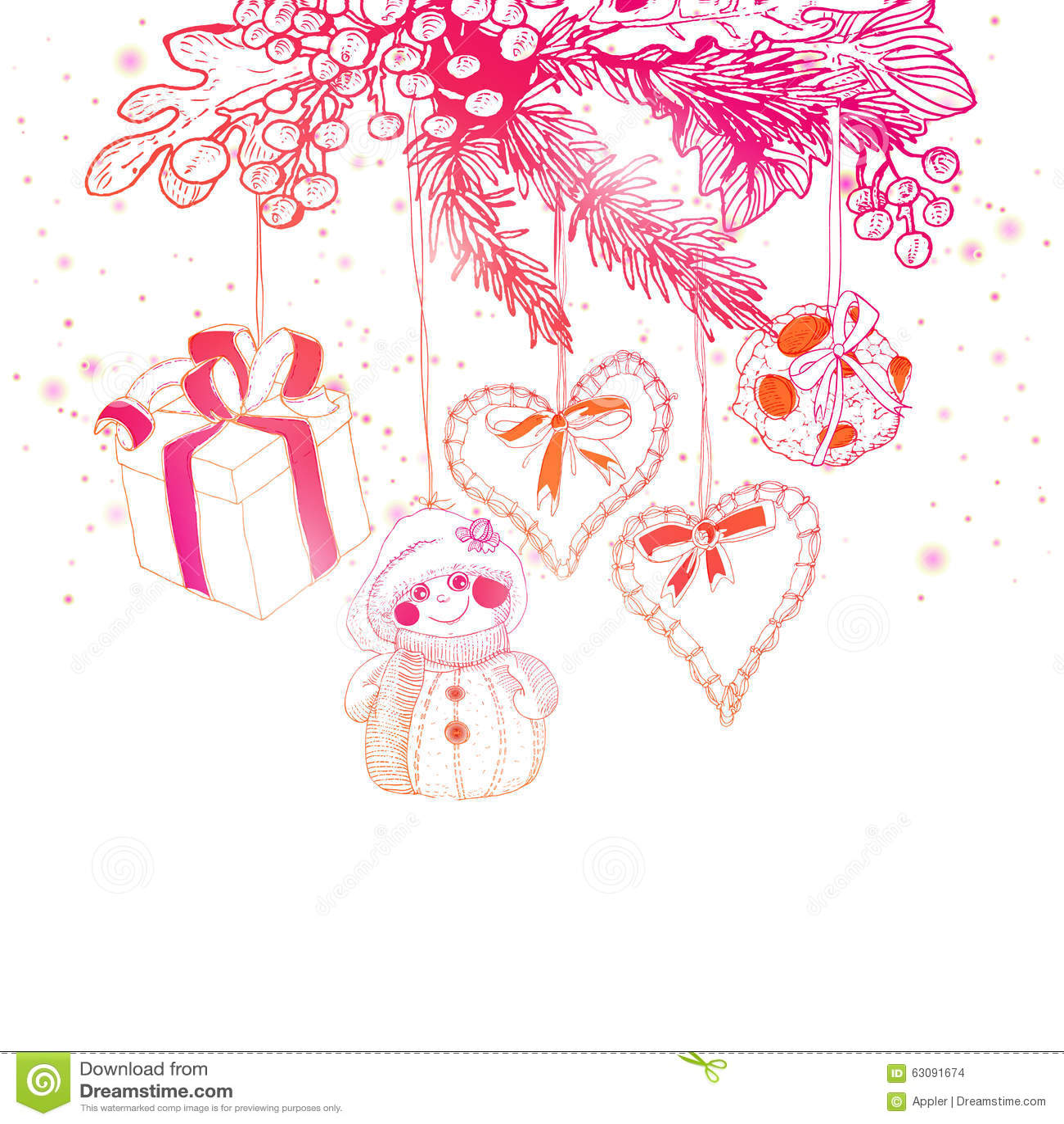 Download Décoration Lumineuse De Croquis De Noël De Couleurs Illustration de Vecteur - Illustration du éléments, carte: 63091674