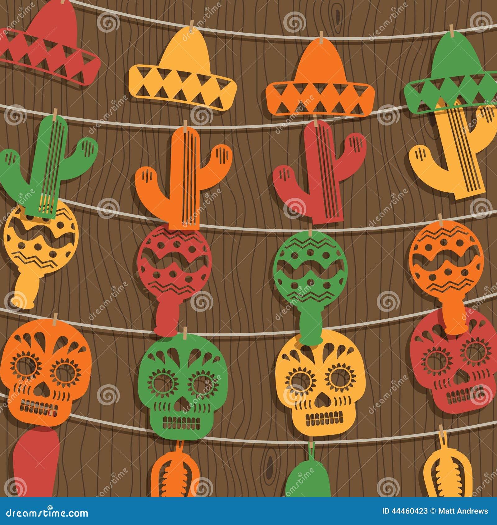 d coration mexicaine d 39 tamine illustration stock illustration du cactus traditionnel 44460423. Black Bedroom Furniture Sets. Home Design Ideas