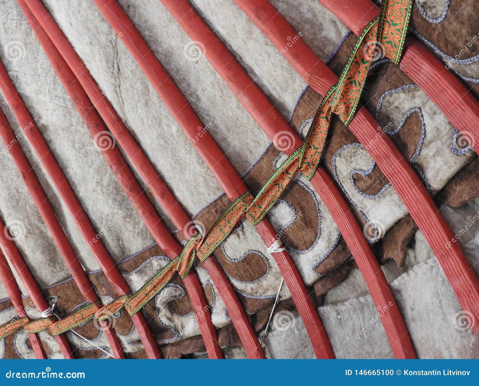 Décoration traditionnelle nationale du plafond et des murs du Yurt mongol Modèles d armure de cru La décoration du Yurt