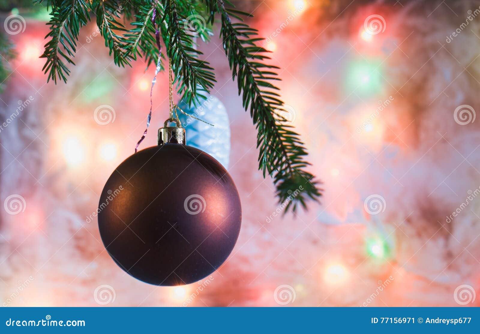Décorations de Noël sur la branche Le fond du verre givré