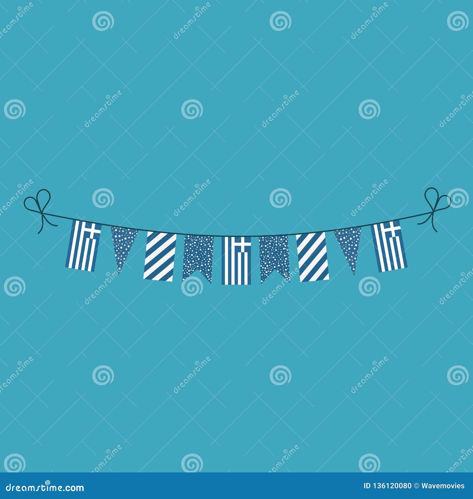 Décorations donnant un petit coup des drapeaux pour des vacances de jour national de la Grèce dans la conception plate