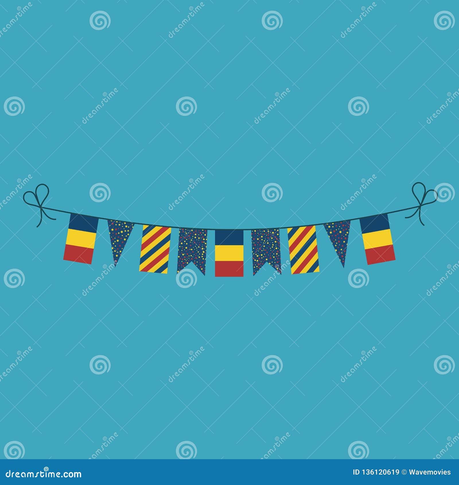 Décorations donnant un petit coup des drapeaux pour des vacances de jour national de la Roumanie dans la conception plate