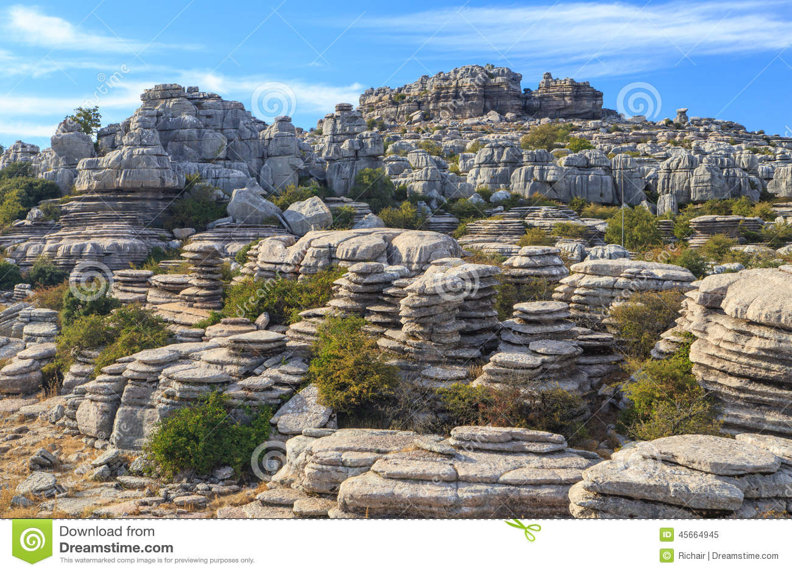 Découpées formations de roche