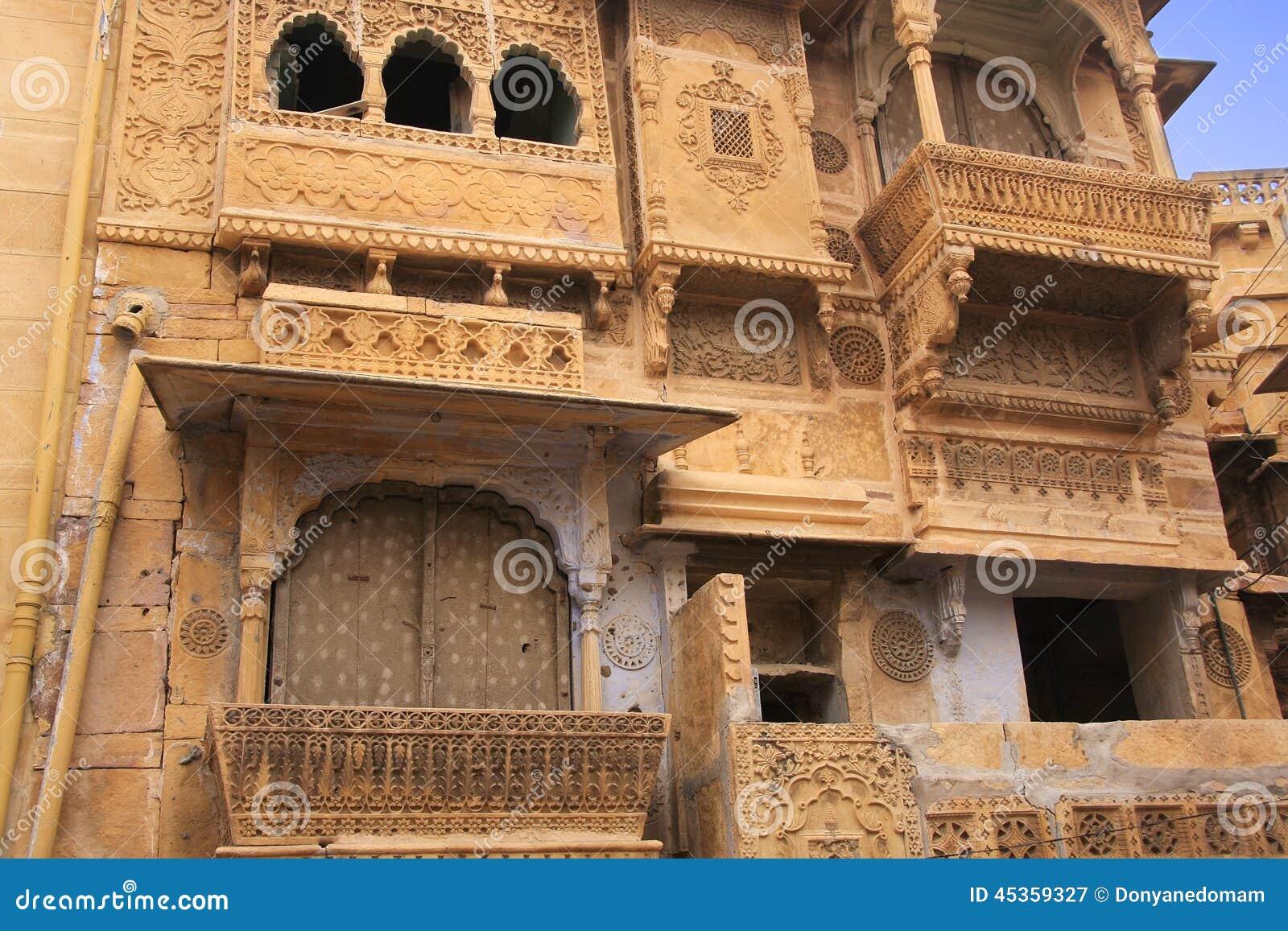 Découpage décoratif sur le haveli traditionnel, Jaisalmer, Inde