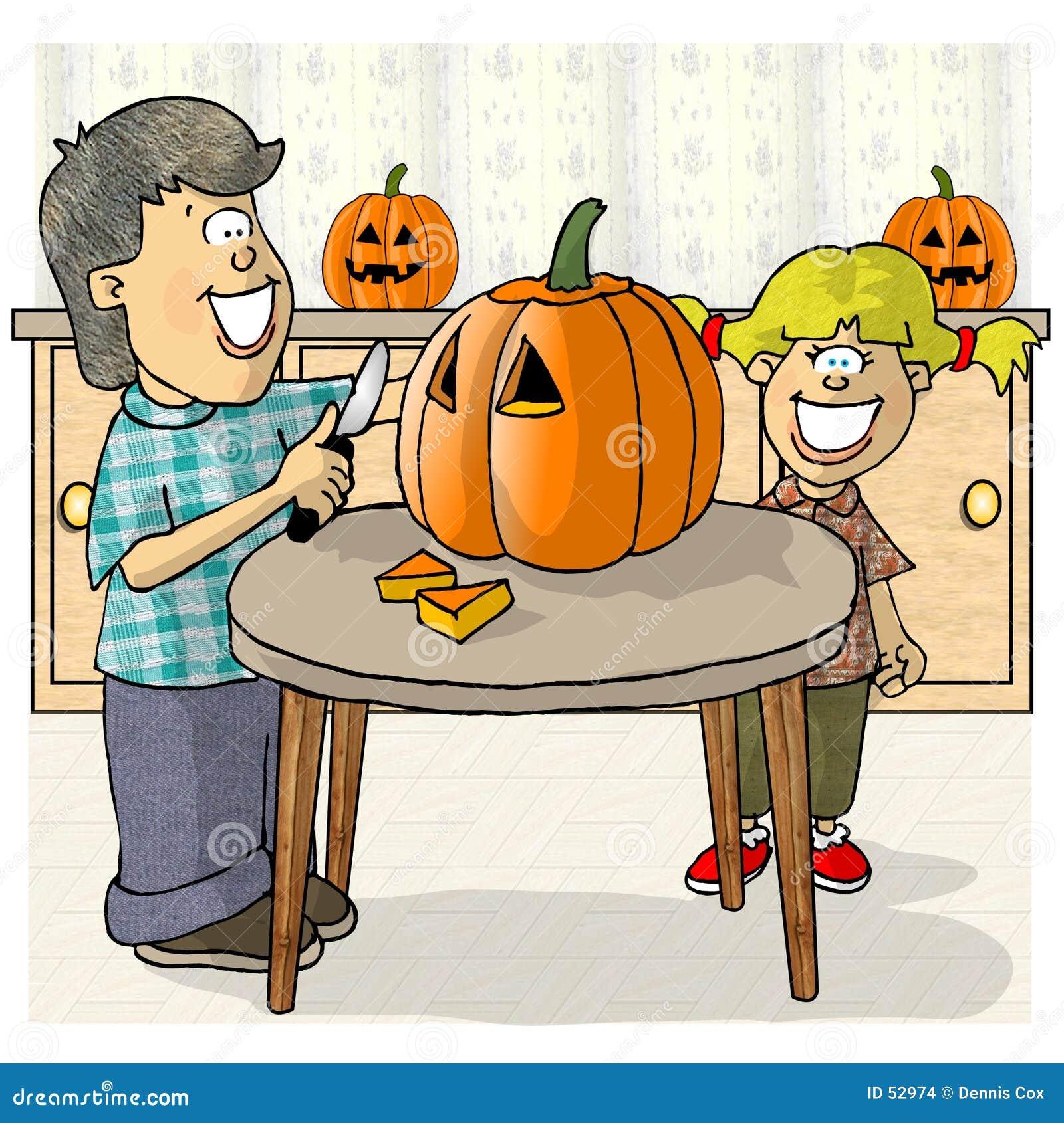 Download Découpage des potirons illustration stock. Illustration du potiron - 52974