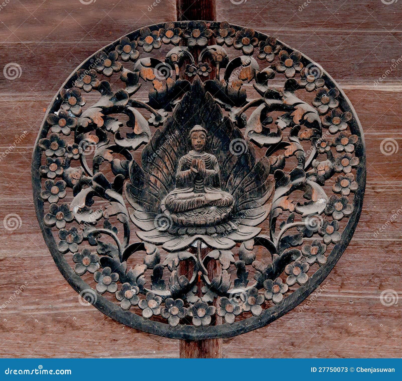 Découpage du bois du mode de Bouddha
