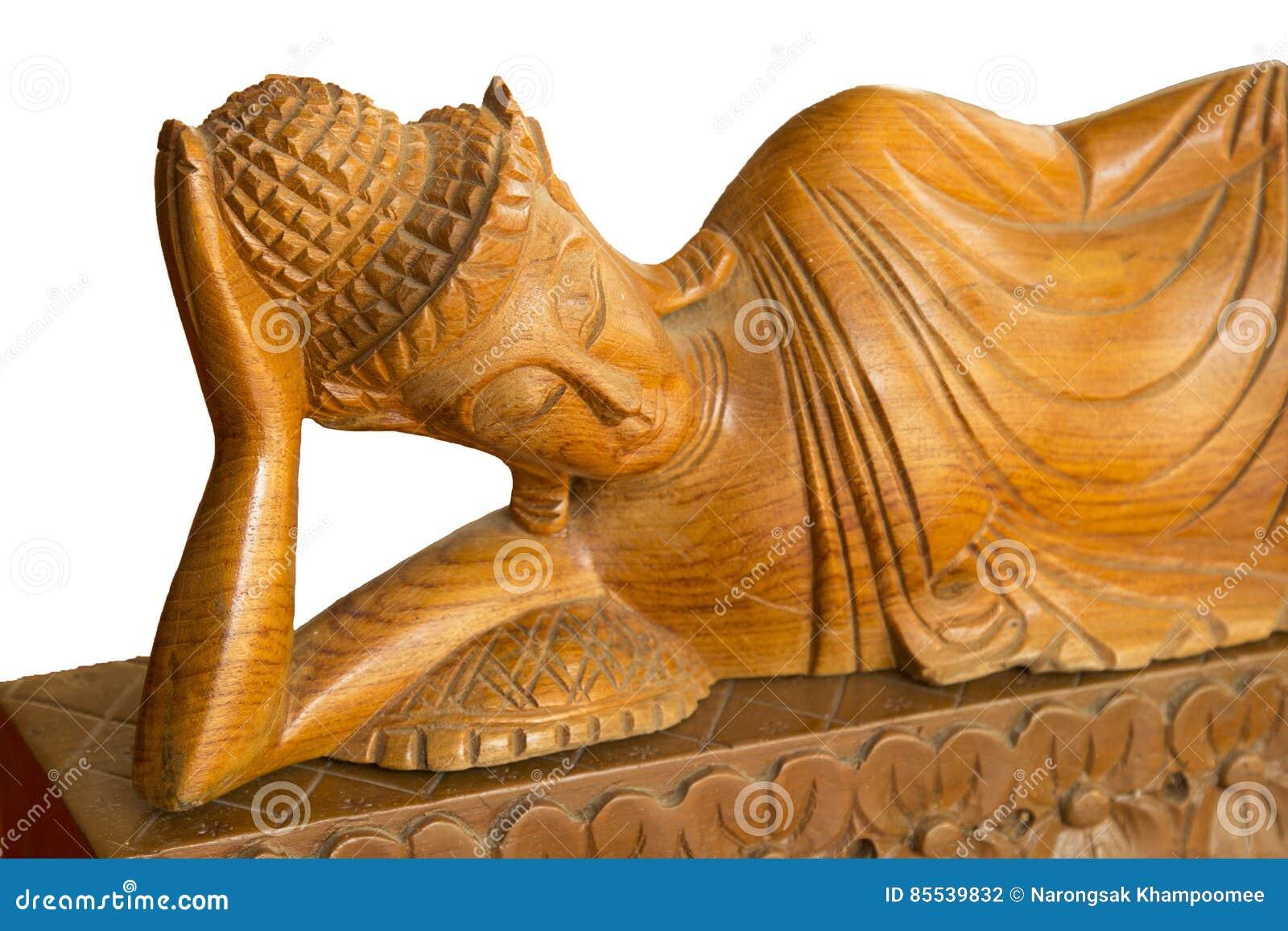 Découpage en bois de Bouddha Découpage en bois de style thaïlandais sur le fond blanc