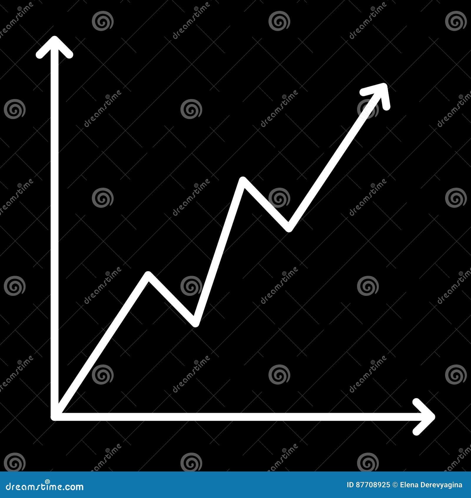 Découpe blanche croissante de graphique d icône sur le fond noir de l illustration