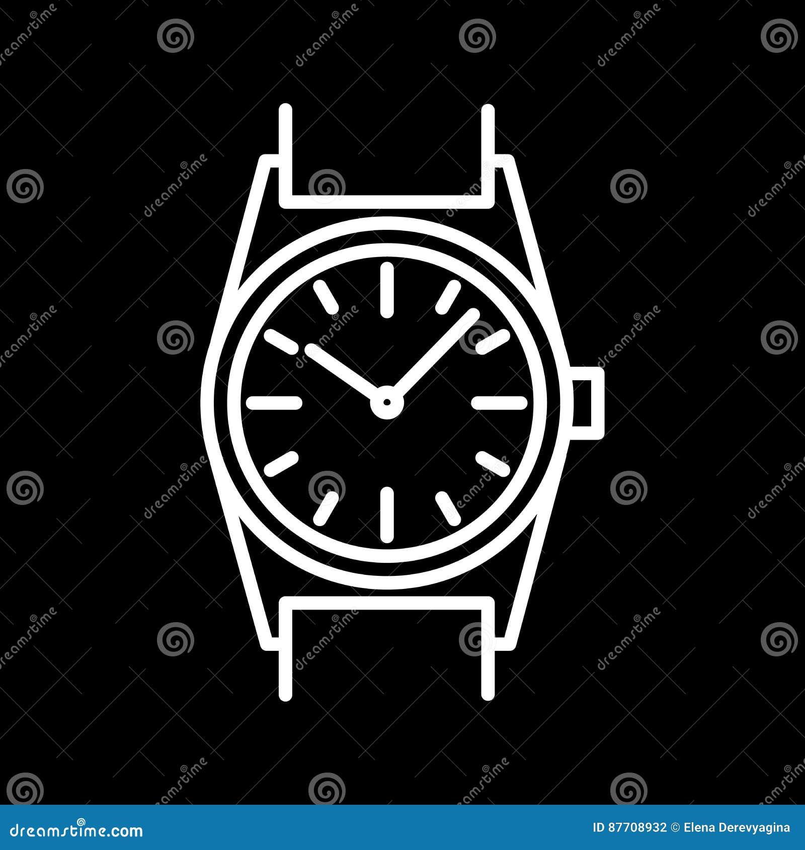 Découpe blanche d icône de montre-bracelet sur le fond noir de l illustration