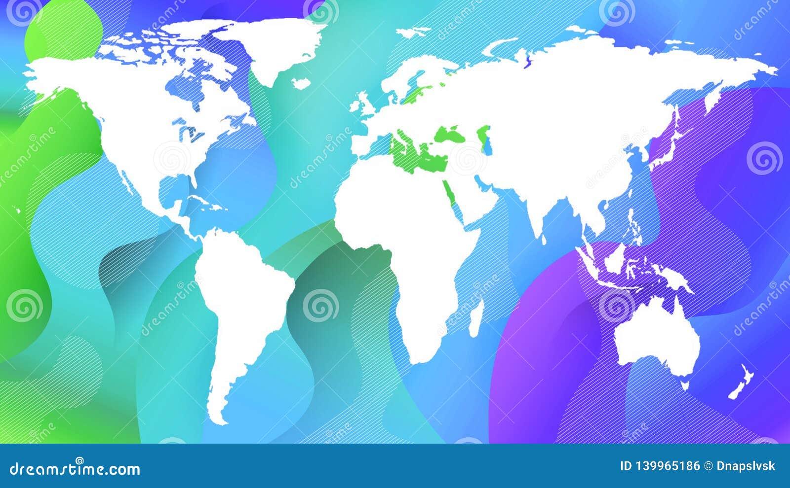 Découpe de la carte de planète sur un vert et bleu blancs
