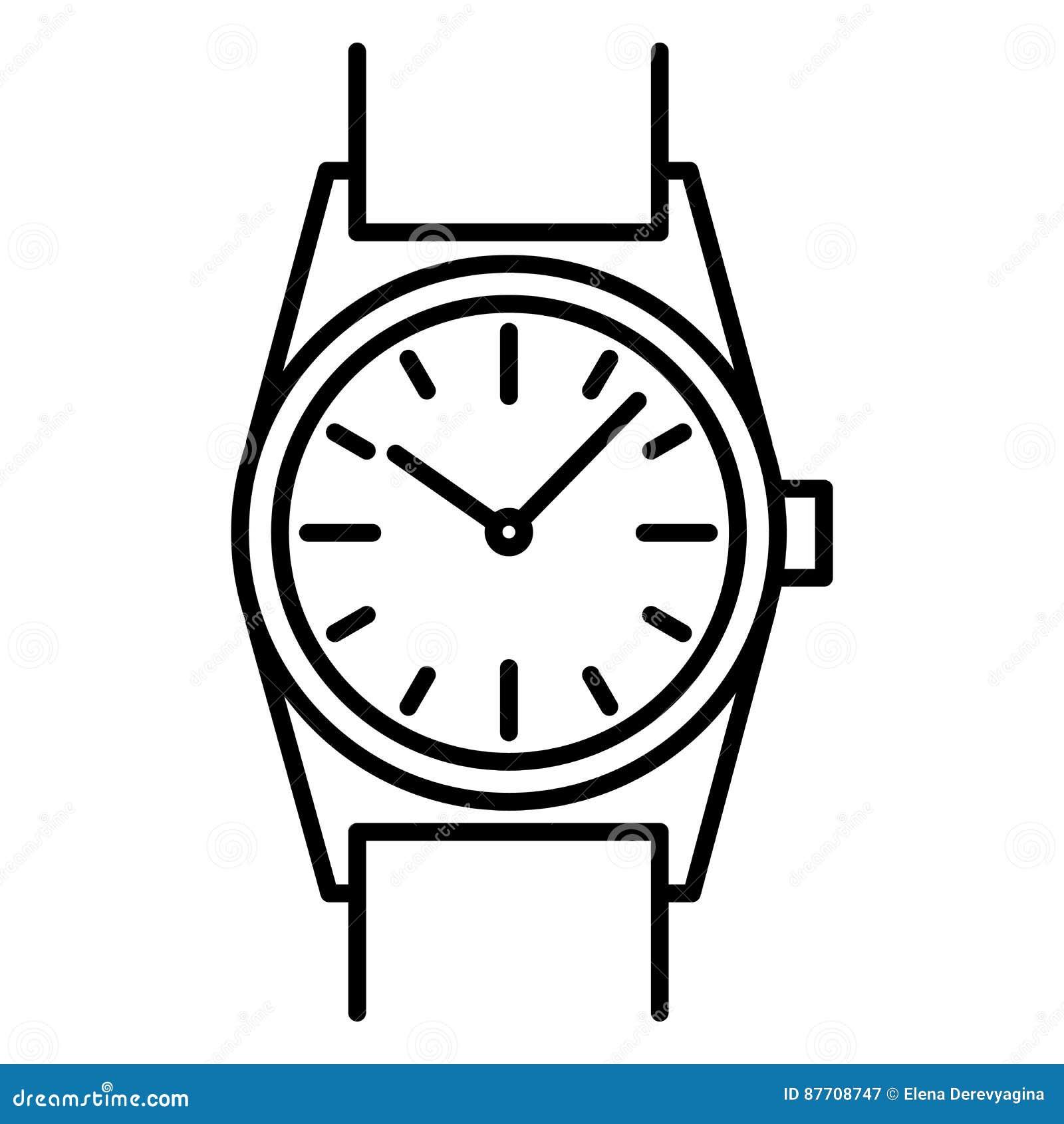Découpe de noir d icône de montre-bracelet sur le fond blanc de l illustration de vecteur