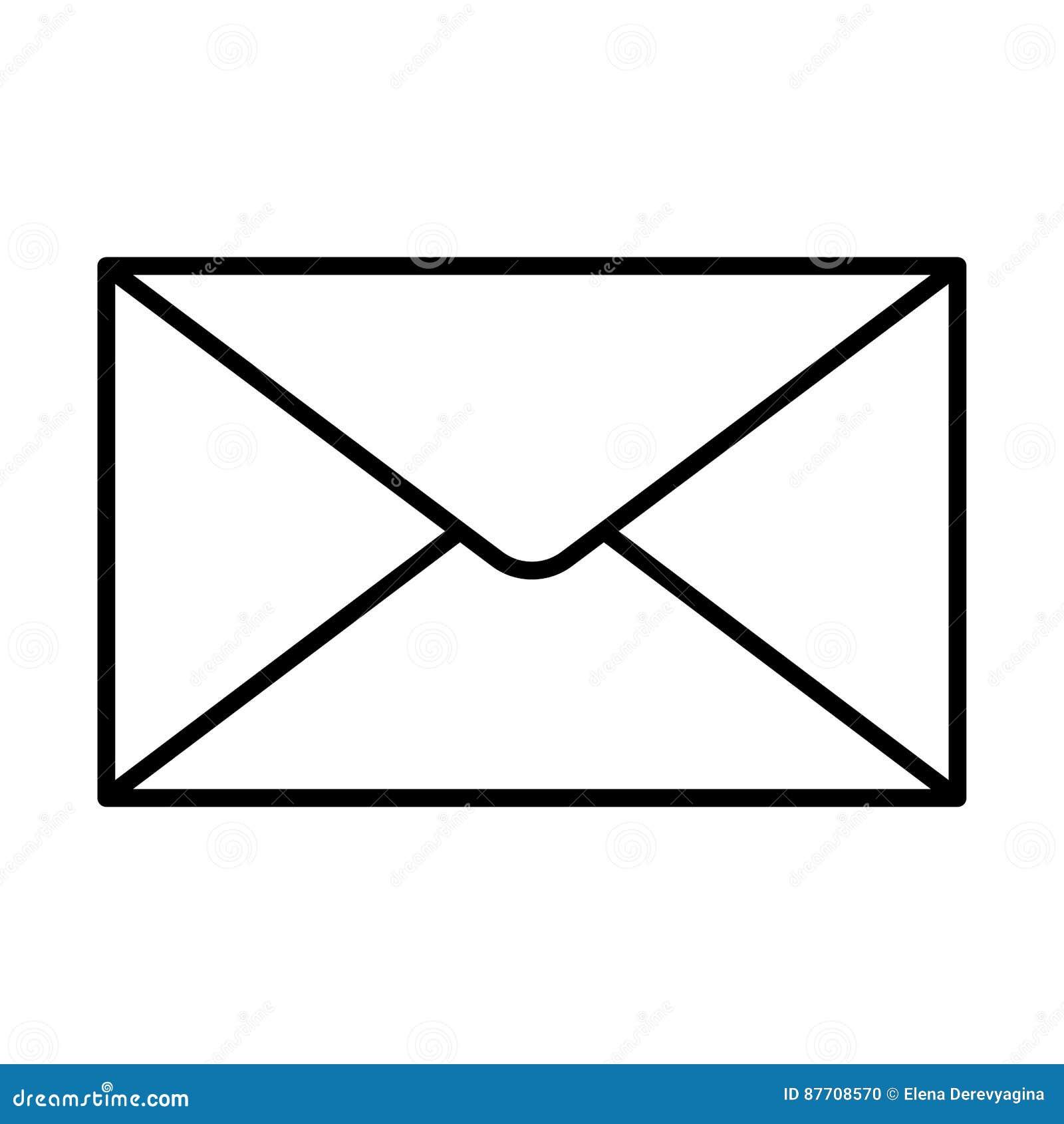 Découpe fermée de noir d icône d enveloppe sur le fond blanc de l illustration de vecteur