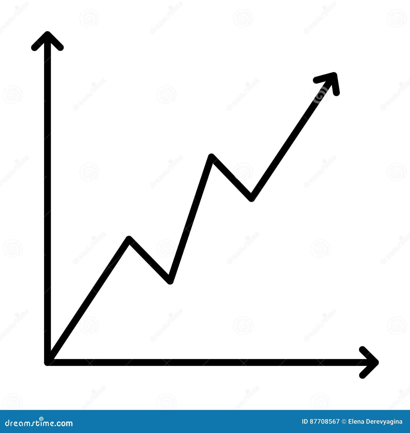 Découpe noire croissante de graphique d icône sur le fond blanc de l illustration