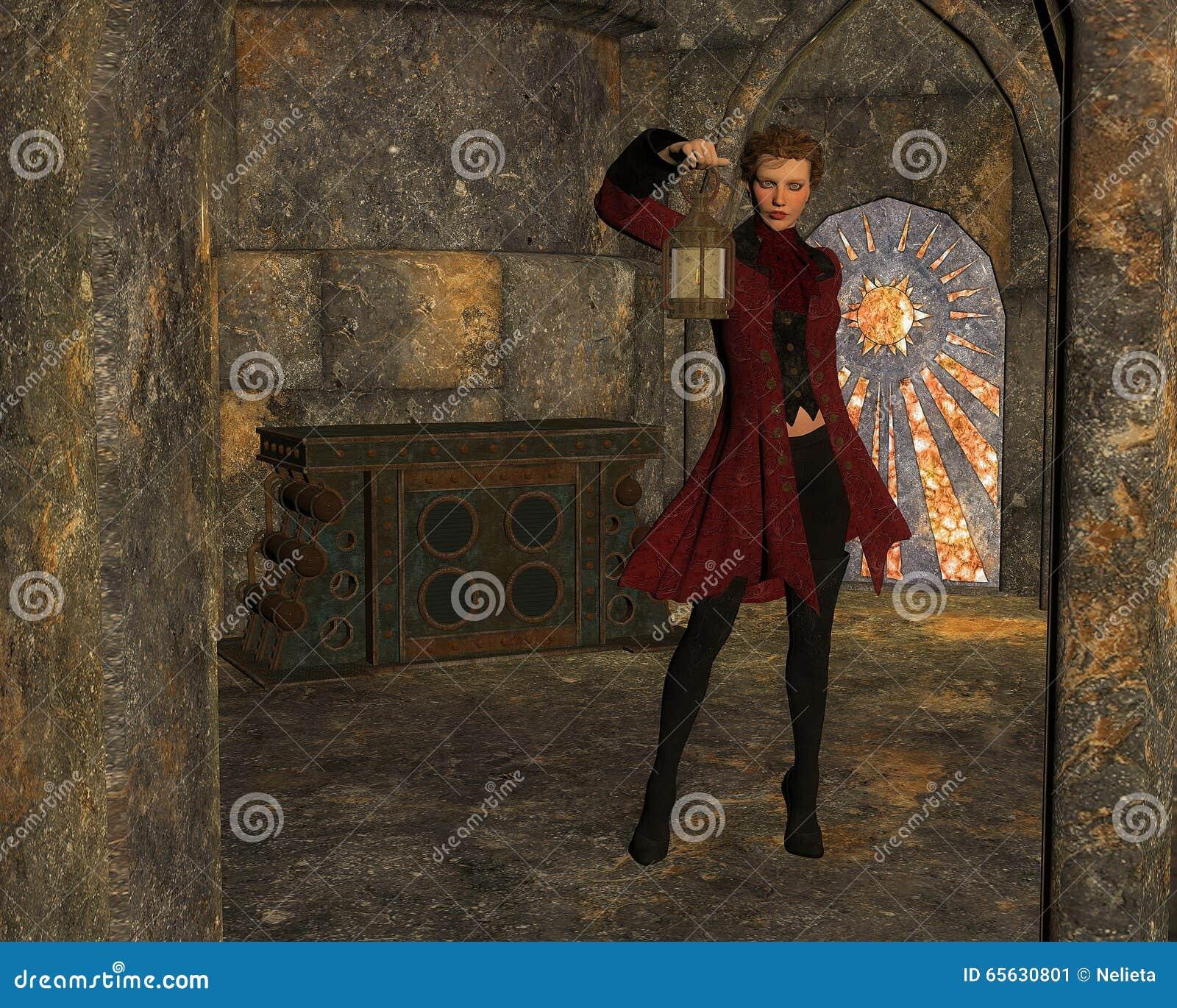 Découverte à l intérieur de la chambre, 3D CG.