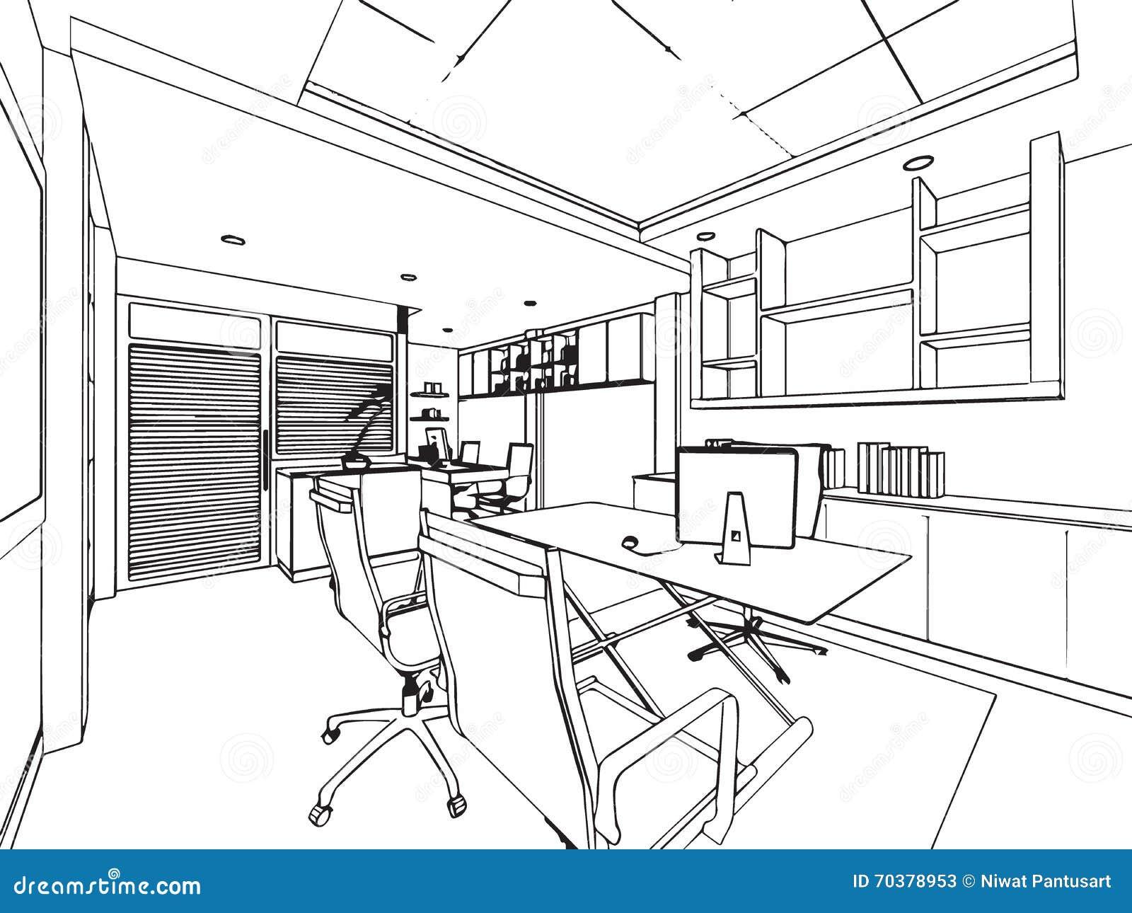 D crivez la perspective de dessin de croquis d 39 un bureau de l 39 espace illustration de vecteur - Dessiner un meuble en perspective ...