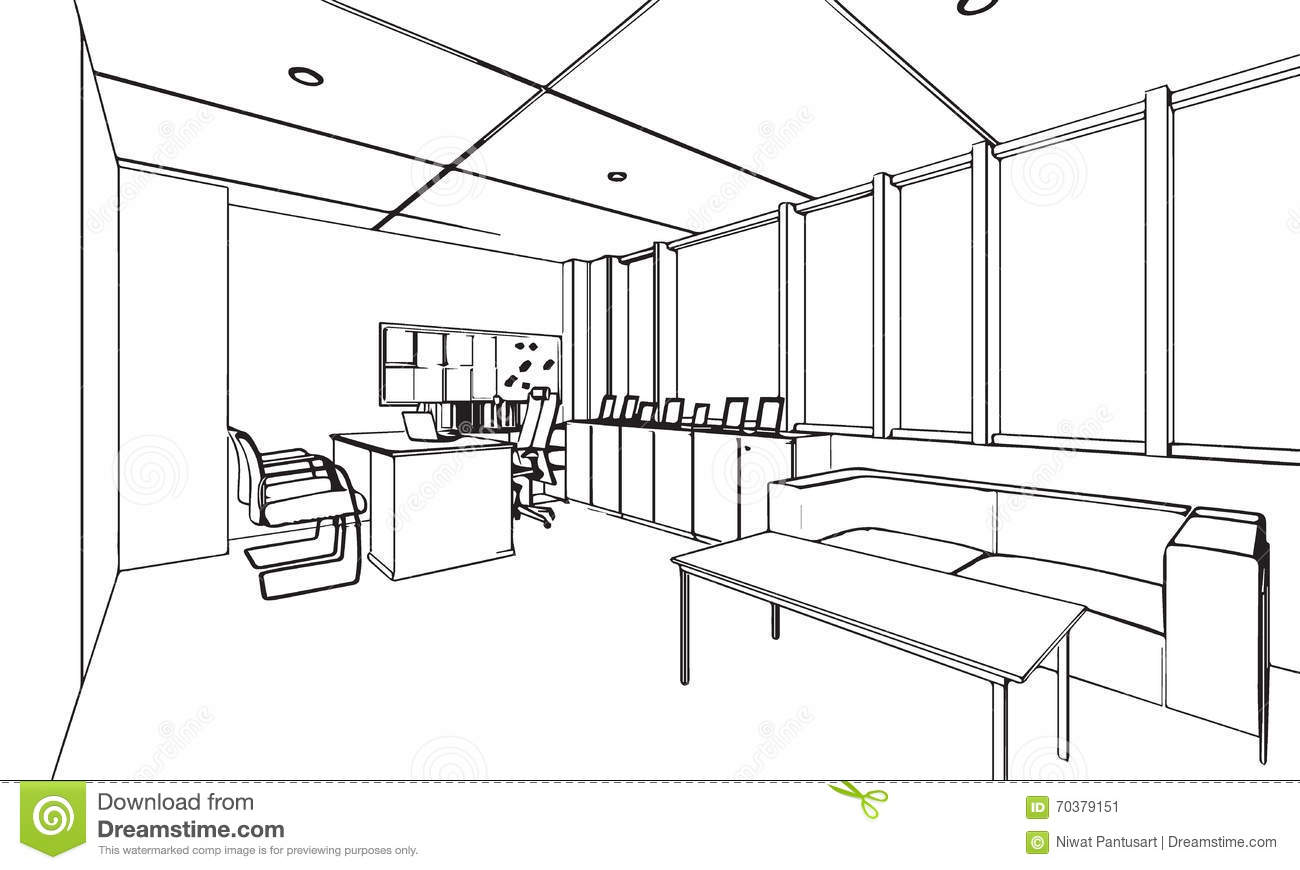 d crivez la perspective de dessin de croquis d 39 un bureau. Black Bedroom Furniture Sets. Home Design Ideas