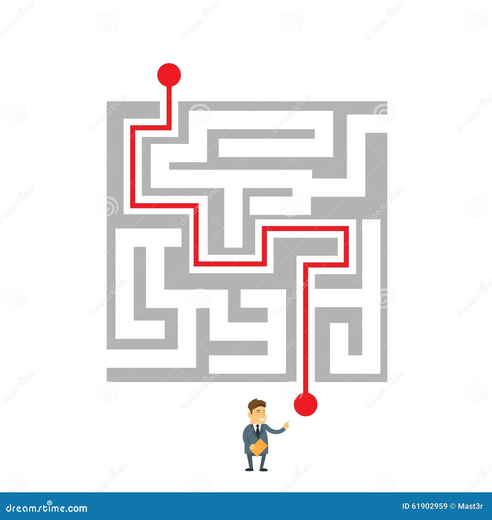 Défi de manière de Labyrinth Choosing Path d homme d affaires