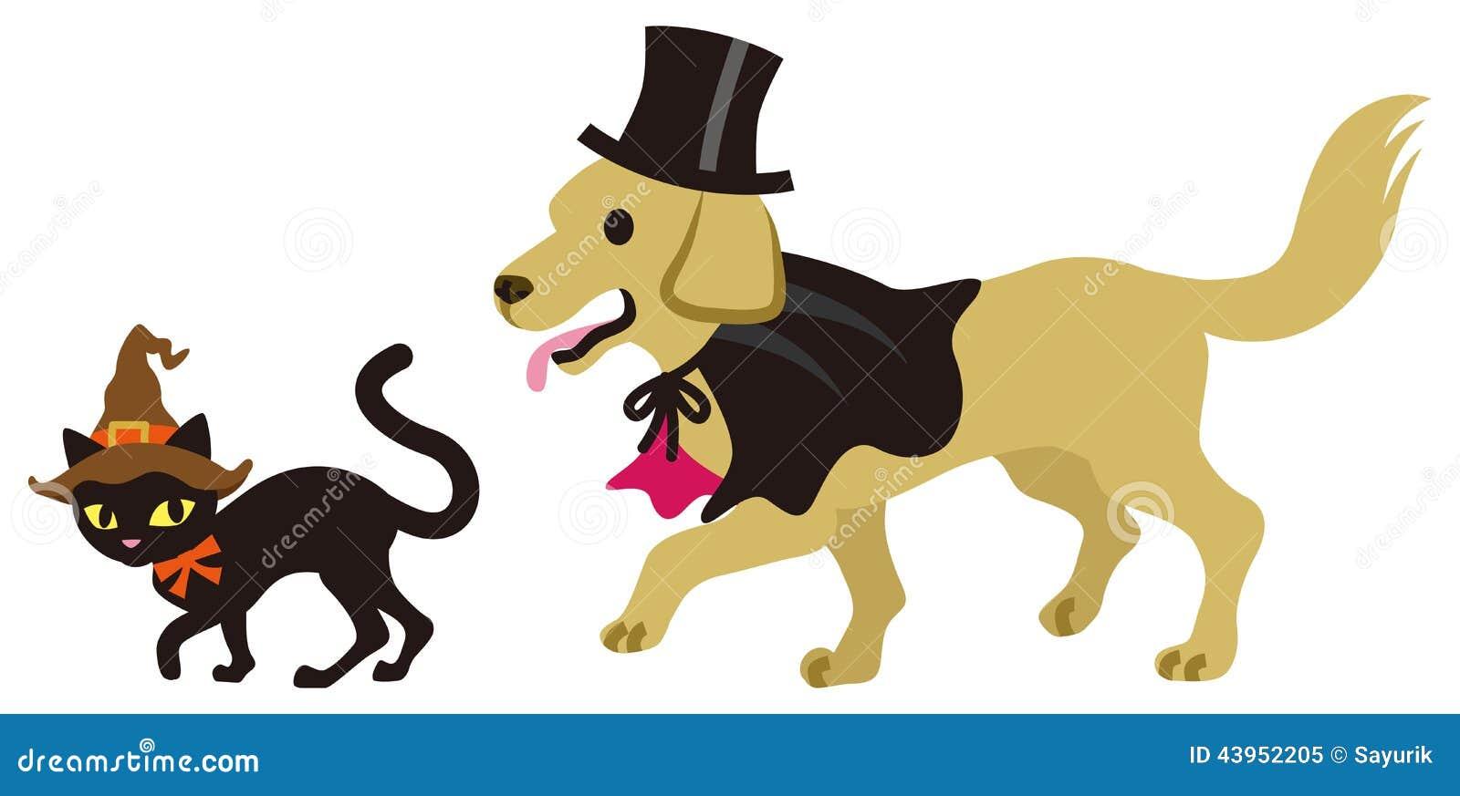 D guisement chat et chien de halloween illustration de vecteur image 43952205 - Deguisement halloween chien ...