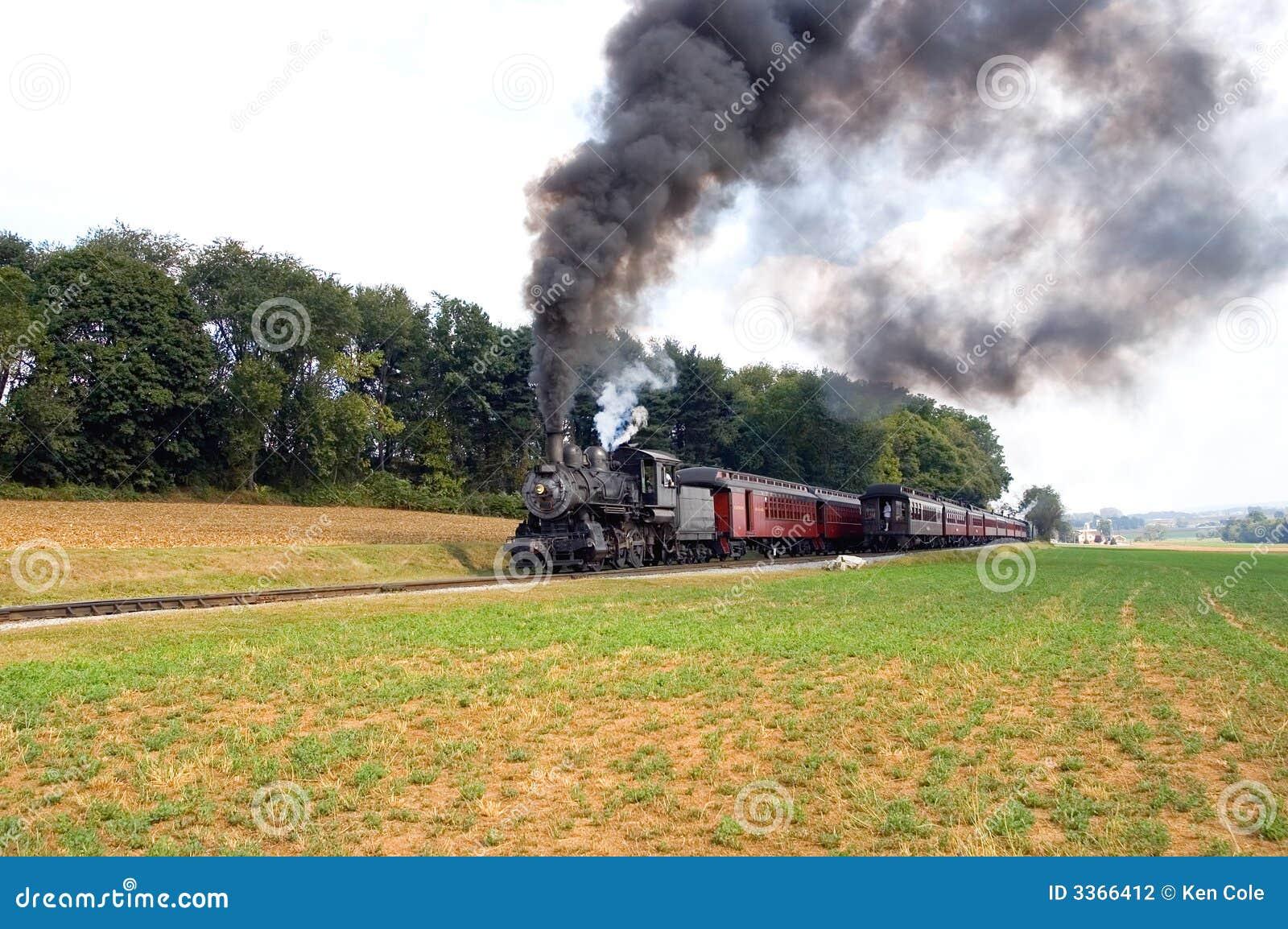 Dépassement de deux trains de vapeur