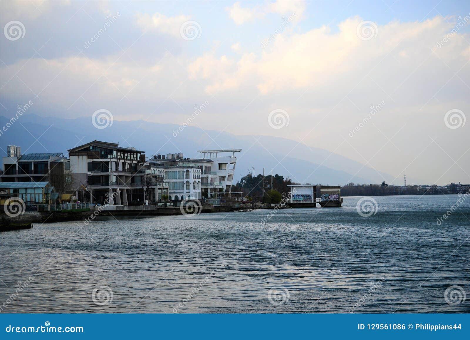 Dépendance d hôtel au lac Erhai chez Dali, Yunnan, Chine