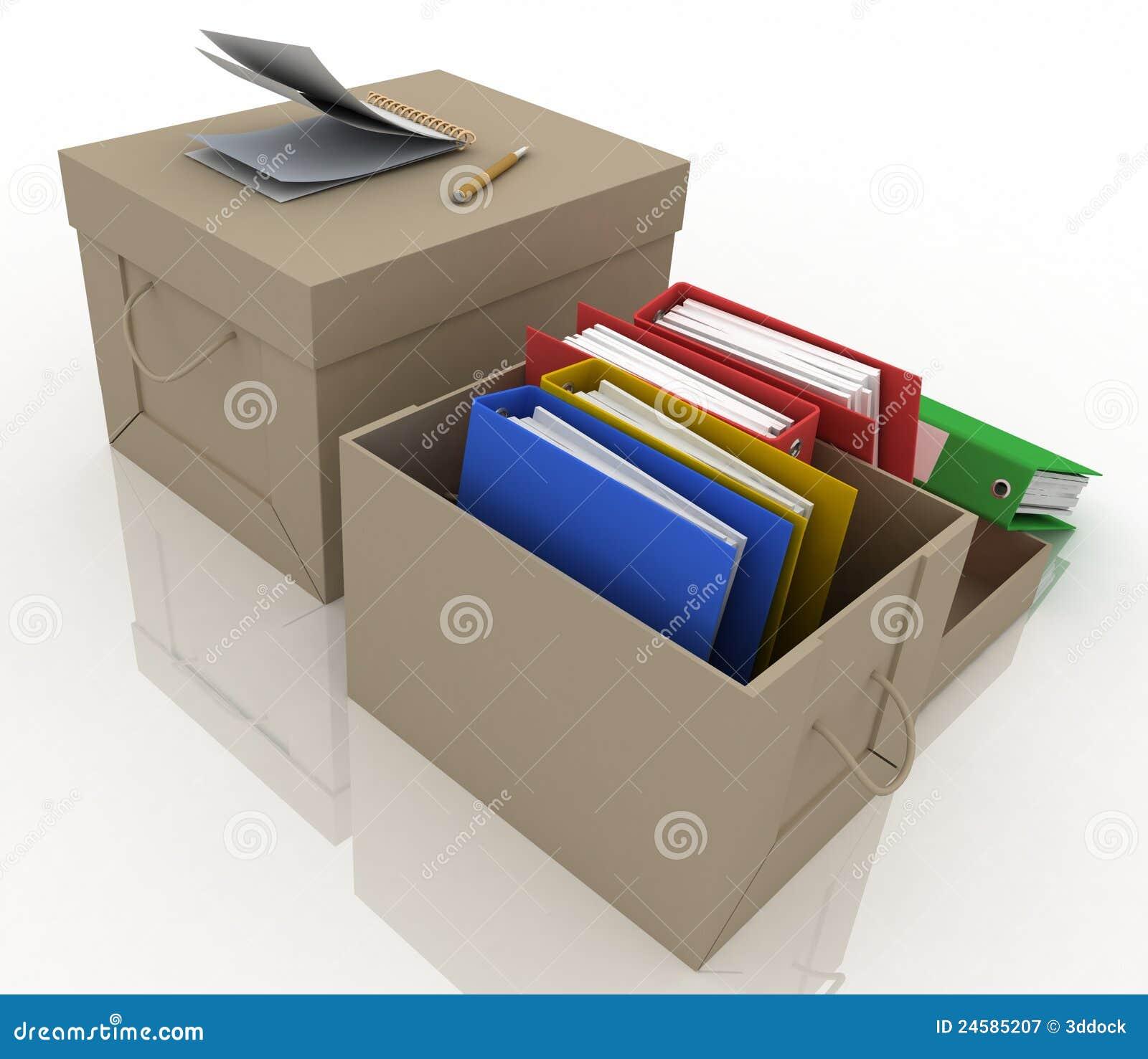 Dépliants de bureau dans la boîte en carton