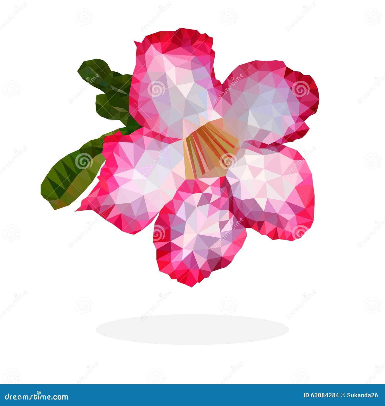 Download Désert Rose Et Blanc Rose Flower, Bas Polygone Illustration de Vecteur - Illustration du poly, fleur: 63084284