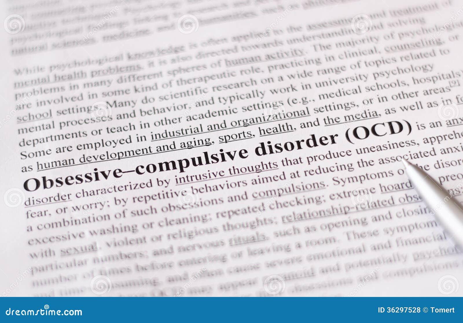 Désordre obsessionnel ou OCD. éducation ou concept de soins de santé/foyer sélectif.