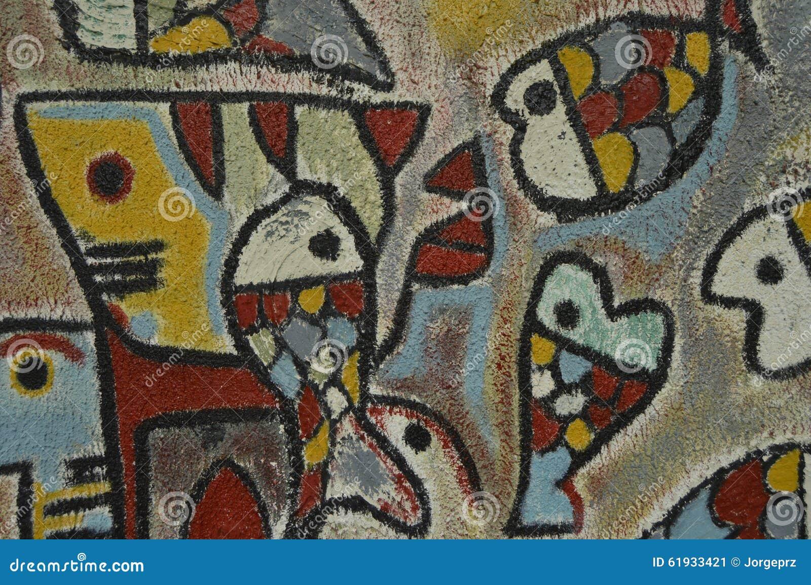 Detail D Illustration Abstraite Peint Sur La Peinture Murale Ou Le